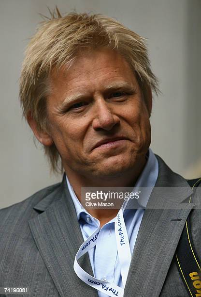 ExManchester United player Peter Schmeichel looks on prior to the FA Cup Final match sponsored by EON between Manchester United and Chelsea at...