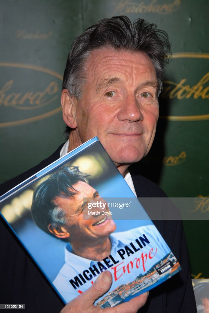 Ex-Monty Python actor Michael Palin turned travel writer/presenter signs copies of 'New Europe', which documents his extensive travels around Eastern Europe encompassing Bulgaria, Croatia, Romania, Hungary and Slovakia on September 19, 2007 in London, England.
