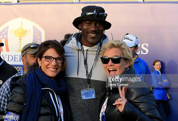 ExNBA star Michael Jordan poses with Suzanne Torrance wife of Europe team vice captain Sam Torrance and Pernilla Bjorn wife of Thomas Bjorn of Europe...