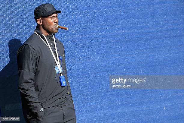 ExNBA star Michael Jordan watches the action during the Morning Fourballs of the 2014 Ryder Cup on the PGA Centenary course at the Gleneagles Hotel...