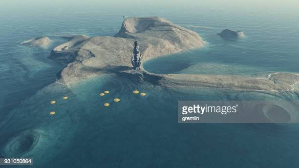 exo planetary island with alien colonization basecamp - extrasolar planet stock pictures, royalty-free photos & images