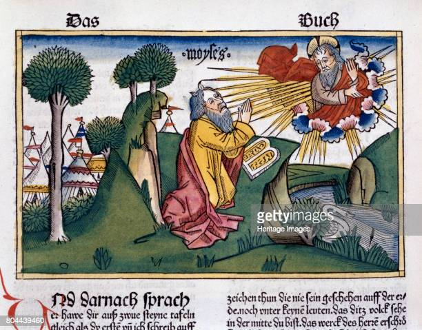 110 Moses receives the second tablets with the Ten Commandments Facsimile copy of a 15th century manuscript of the German School Artist Unknown
