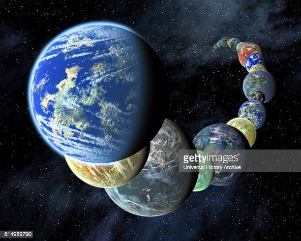 Exoplanets in a montage artist's concept to show that rocky terrestrial worlds like the inner planets in our Solar System may be plentiful and...