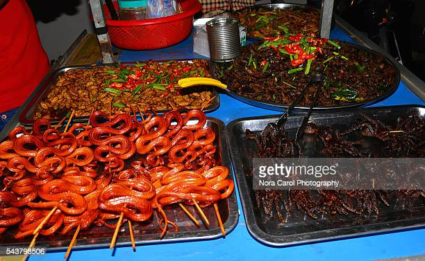 Exotic and bizzare street food in Siem Reap night market.