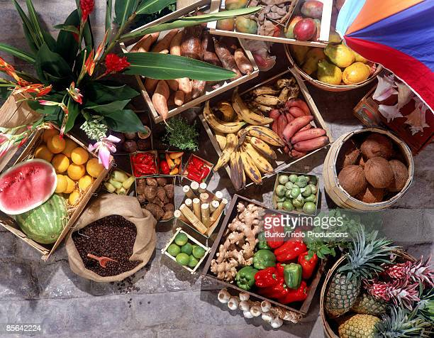 Exotic Caribbean fruit stand