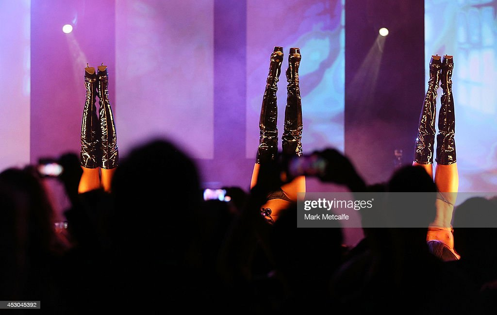 Exotic dancers perform a routine at the Sexpo 2014 Launch at Hordern Pavilion on August 1, 2014 in Sydney, Australia.