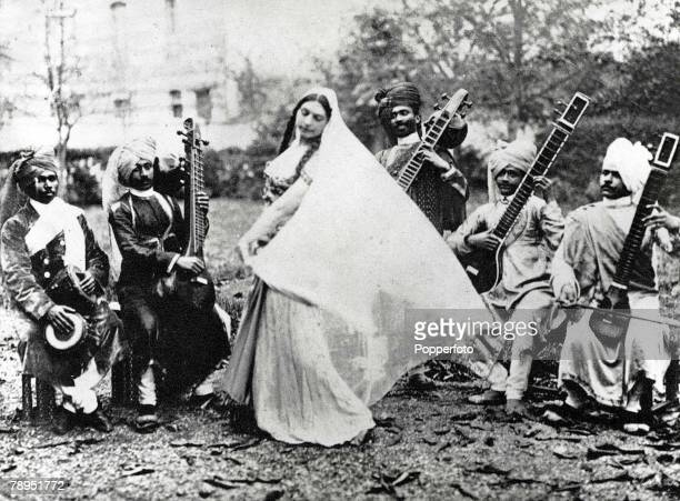 Exotic Dutch dancer Mata Hari who lived in France and was executed as a German spy in World War One pictured in Paris practicing her Javanese Temple...