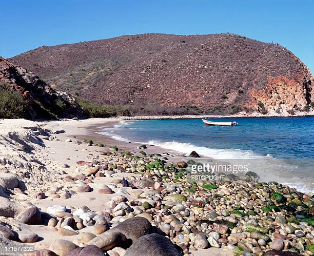 exotic remote tropical beach with stones - fstoplight stock photos and pictures