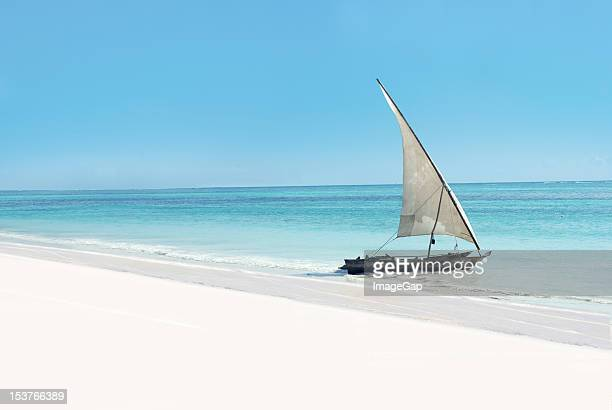 exotic sail boat - zanzibar stock photos and pictures