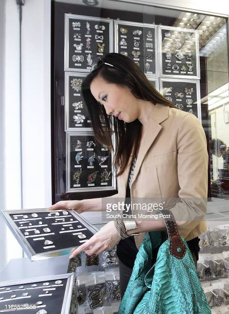 Exotic skins handbag maker Jennifer Mak shopping for accessories in Sham Shui Po 04MAY13
