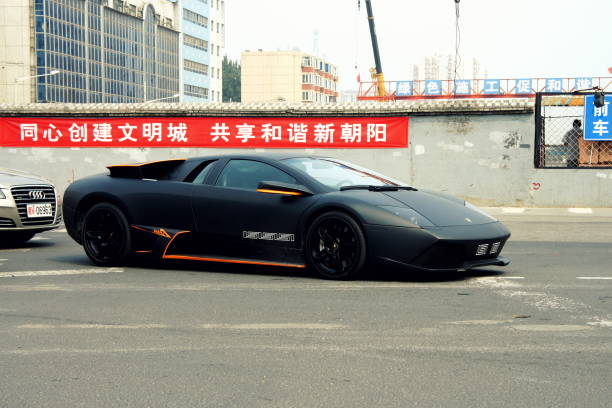 Exotic supercar and ugly urban background