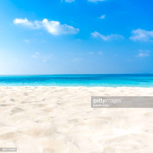 exotic tropical beach landscape for background or wallpaper. design of tourism for summer vacation holiday destination concept. - arena fotografías e imágenes de stock