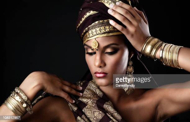 exotic woman - headdress stock pictures, royalty-free photos & images