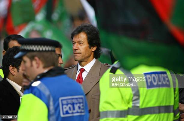 Ex-Pakistan cricketer Imran Khan attends a demonstration outside 10 Downing Street in London, 28 January 2008, as Pakistan President Pervez Musharraf...