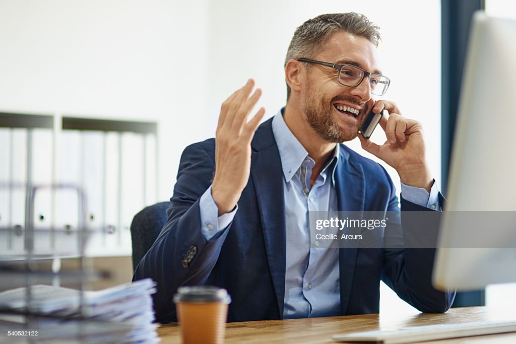 Expanding his empire using technological resources : Stock Photo