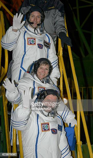 Expedition 50 crewmembers ESA astronaut Thomas Pesquet top NASA astronaut Peggy Whitson middle and Russian cosmonaut Oleg Novitskiy of Roscosmos wave...