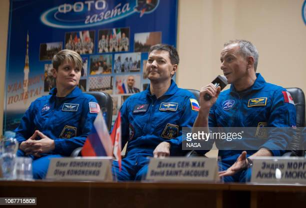 Expedition 58 Flight Engineer David SaintJacques answers a question during a press conference December 2 2018 at the Cosmonaut Hotel in Baikonur...