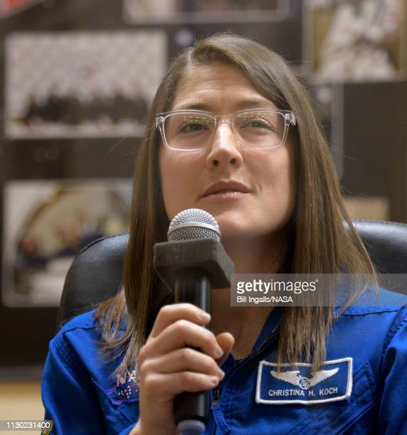 Expedition 59 astronaut Christina Koch of NASA answers questions during a press conference Wednesday March 13 2019 at the Cosmonaut Hotel in Baikonur...