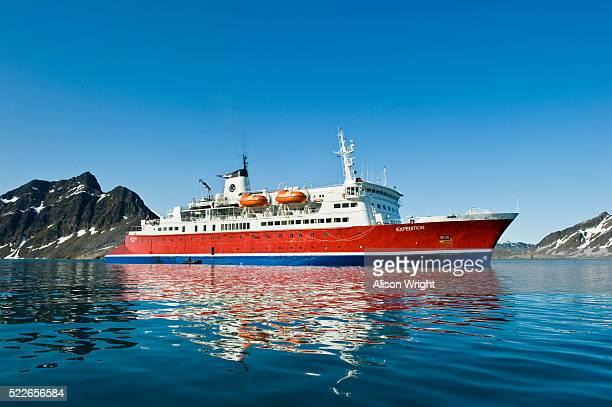Expedition boat near Svitjodbreen glacier on Spitsbergen