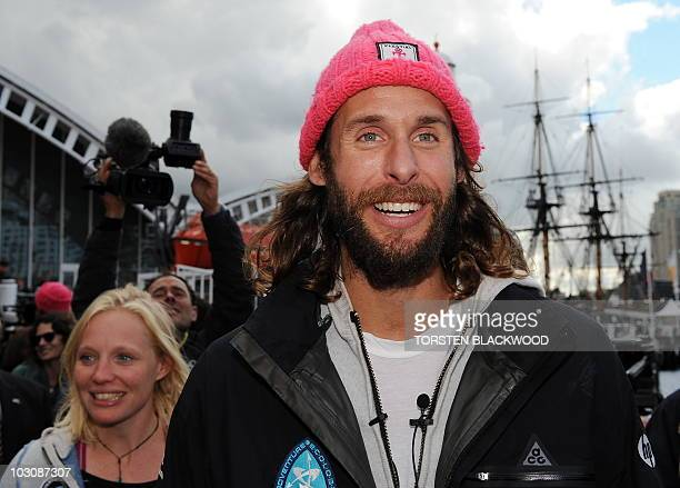 Expedition leader David de Rothschild the youngest heir to Britain's Rothschild family banking fortune and skipper Jo Royle disembark the 'Plastiki'...