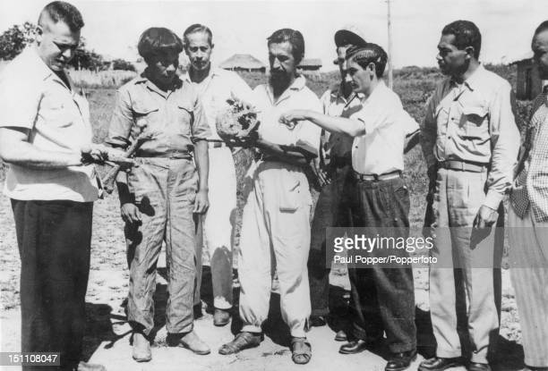 Expedition leader Orlando Vilas Boas shows what he believes to be the skull of British explorer Percy Fawcett to reporters in the town of Xavantina...