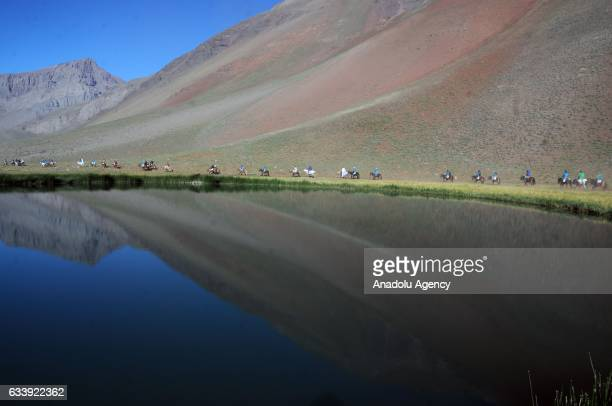 Expeditionaries travel through the Patos Sur Valley on the international border with Chile in the framework of the bicentenary of Cruce de los Andes...