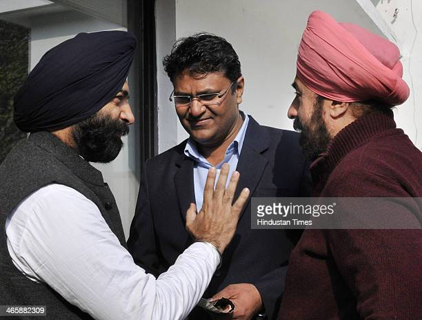 Expelled Aam Aadmi Party MLA Vinod Kumar Binny with BJP MLA RP Singh and Shiromani Akali Dal MLA Manjinder Singh Sirsa during orientation programme...