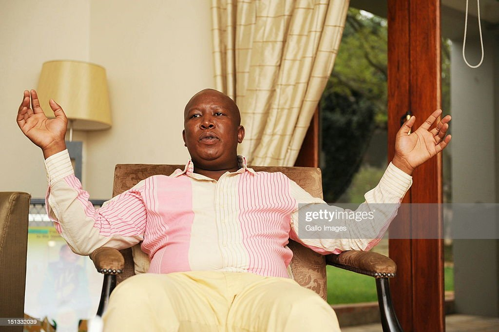 Expelled ANC Youth League President Julius Malema in his Sandton home on September 5, 2012 in Johannesburg, South Africa. Malema is being accused of being opportunistic by supporting striking Lonmin mine workers in their demands for a wage increase.