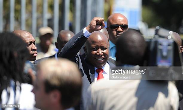 Expelled ANC Youth League President Julius Malema makes his way to address his supporters outside the Polokwane Magistrates Court, following his...