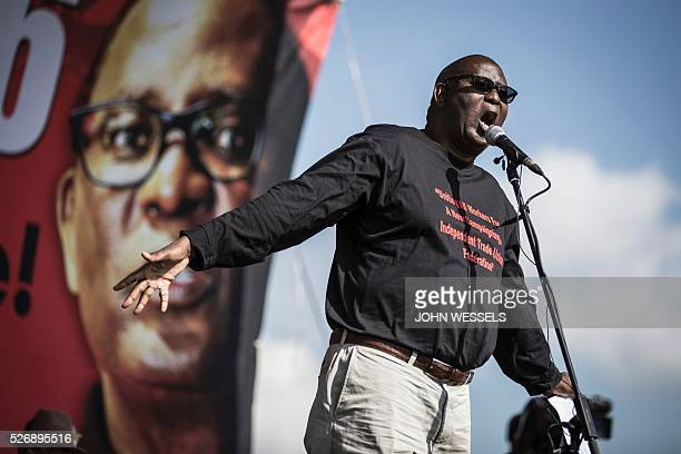 Expelled Secretary General of Congress of South African Trade Unions Zwelinzima Vavi addresses a crowd of National Union of Metalworkers of South...