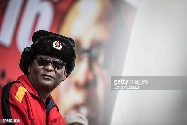 Expelled Secretary General of Congress of South African Trade Unions Zwelinzima Vavi looks on as he addresses a crowd of National Union of...