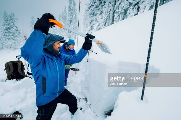 a experience male and female backcountry skier uses a shovel to dig a snow pit while gathering field observations for a avalanche forecast assessment - extreme weather stock pictures, royalty-free photos & images