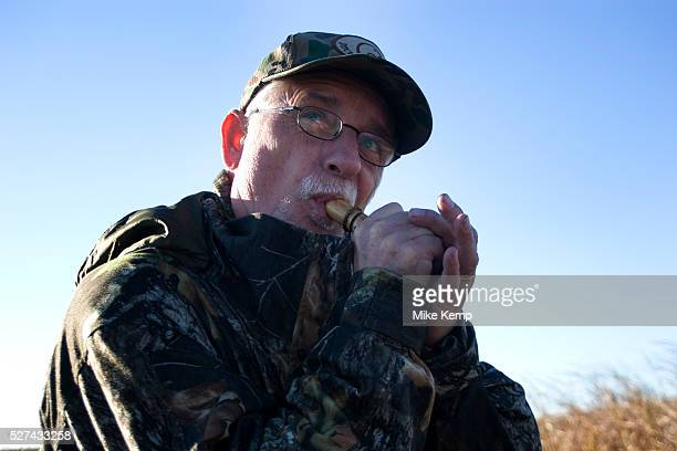 Experienced hunter Timmy Stein makes calls using one of his ducks callers out in North Dakota west of Minot whilst duck hunting Timmy has been...