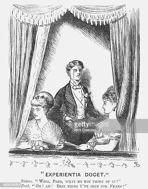 Experientia Docet 1868 A brother rather unwillingly chaperones his sisters to the theatre From Punch or the London Charivari October 24 1868