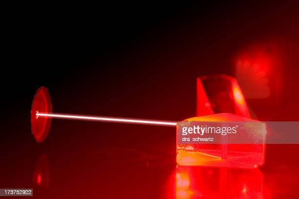 Experiment with a laser