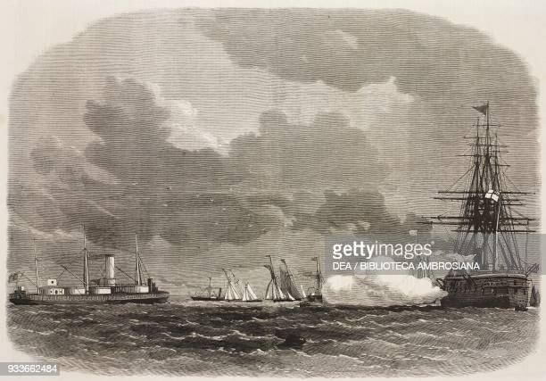 Experimental firing of the Bellerophon ironclad at the Royal Sovereign at Spithead United Kingdom illustration from the magazine The Illustrated...