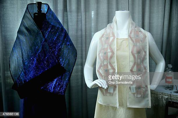 Experimental scarves one that uses blue light to apply localized light therapy and another that can heat up or vibrate on command are part of the...