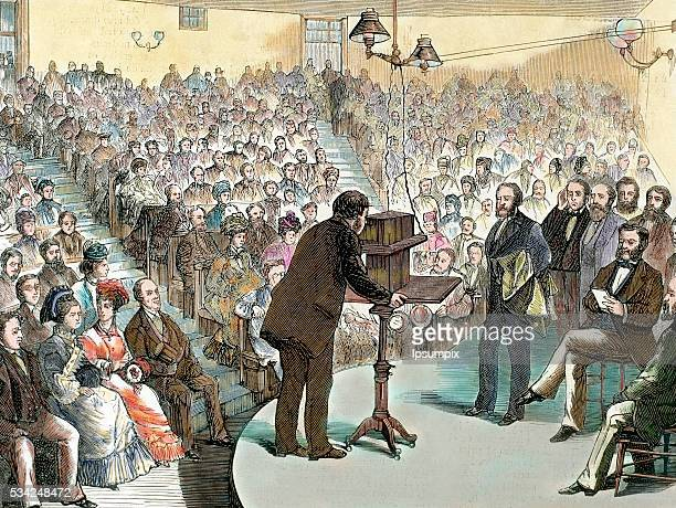 Experiments on the phone from Dr Alexander Graham Bell to transmit the human voice over long distances Boston 1877 United States 19thcentury colored...
