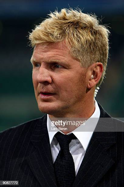 TV expert and former player Stefan Effenberg is seen during the UEFA Champions League Group B match between VfL Wolfsburg and CSKA Moscow at the...