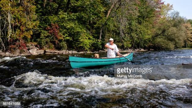 Expert senior canoeist and his dog