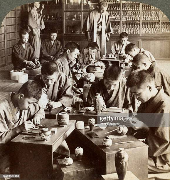 Expert workmen creating designs in cloisonne Kyoto Japan 1904 Mr Namikawa in the background Stereoscopic card Detail