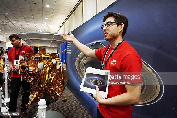 Experts introduce Cassini Spacecraft to visitors JPL in Pasadena USA on June 06 2016 JPL opens its gate for 2 days