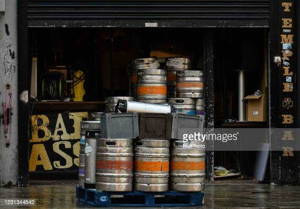 Expired kegs of cider ready for collection outside a bar in Temple Bar in Dublin during Level 5 Covid-19 lockdown. The Taoiseach Micheal Martin has...