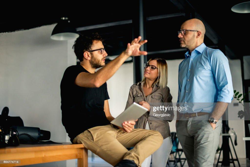Explaining next business moves : Stock Photo