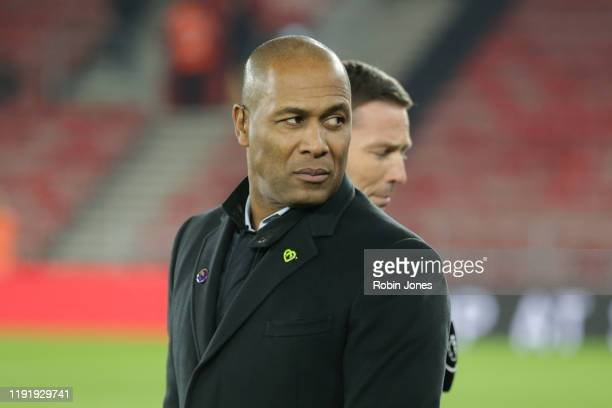 Ex-player Les Ferdinand, part of Amazon Prime's match coverage team, looks on before the Premier League match between Southampton FC and Norwich City...