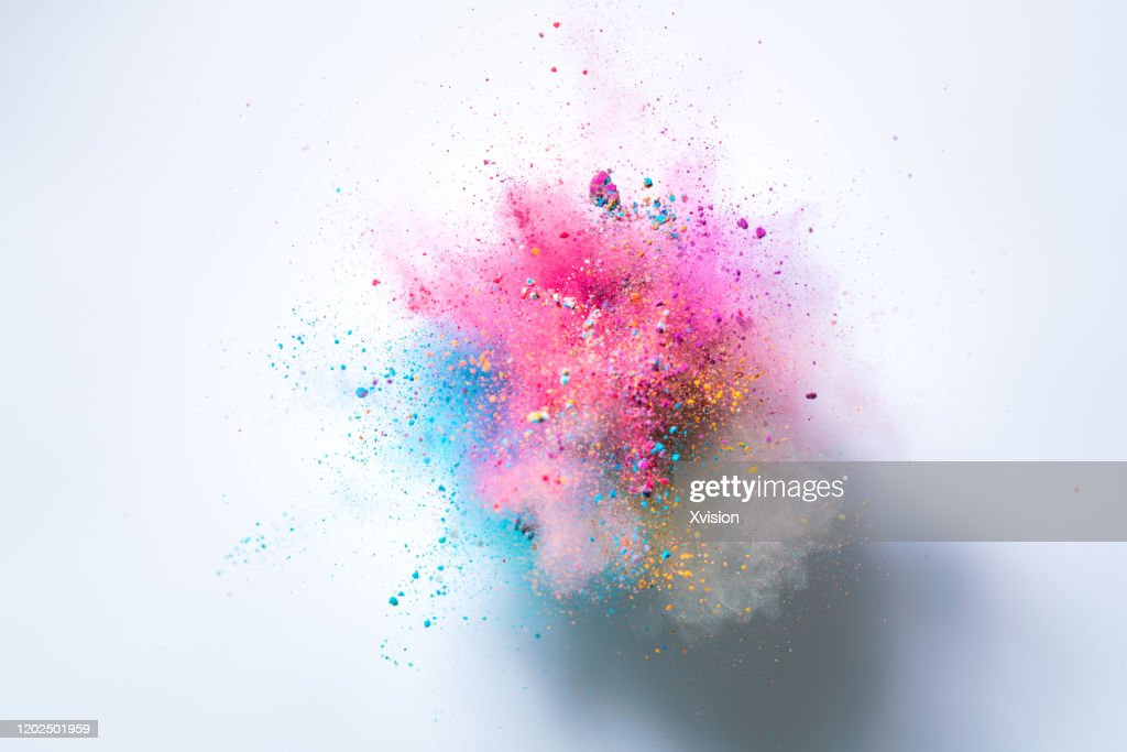 explode powder with white background captured with high speed sync. : Stock-Foto