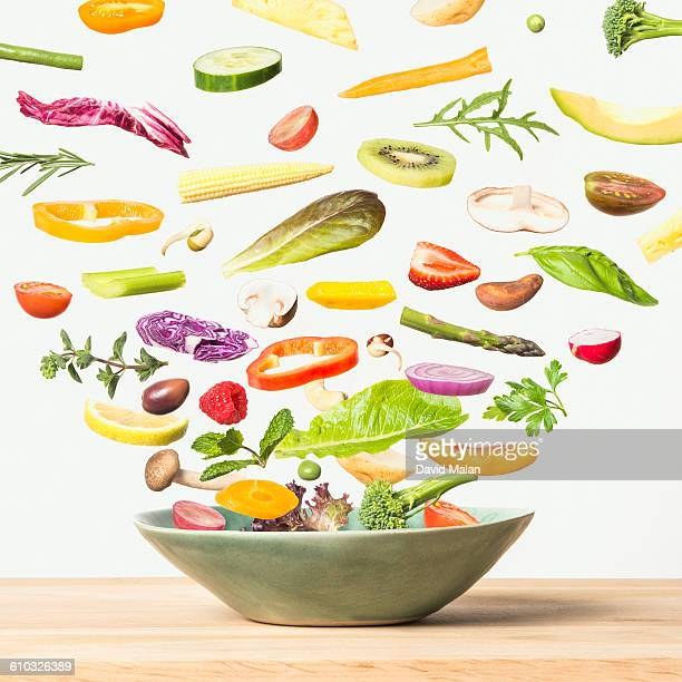 Exploded view of a salad