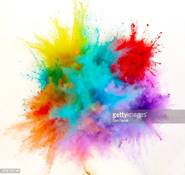exploding colored powder - kleurenfoto stockfoto's en -beelden