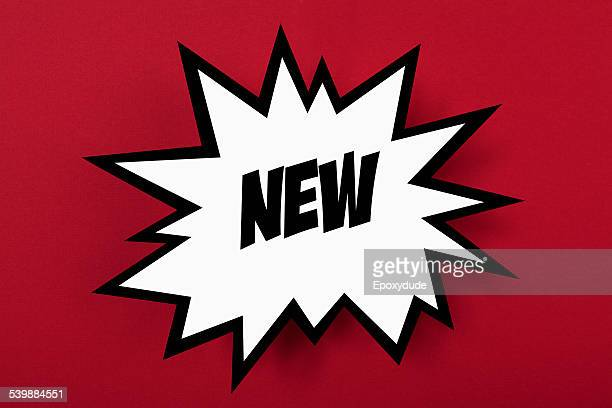 exploding commercial sign with new against red background - neu stock-fotos und bilder
