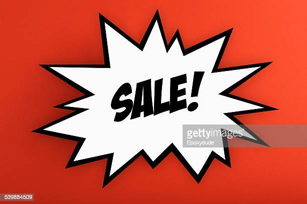Exploding commercial sign with SALE against orange background